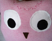 Handmade Owl Plush Pillow Upcycled Sweater