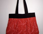 Pleated Shoulder Bag Purse, Black and Red
