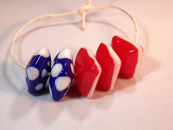 RESERVED for LIVALUBABY  Americana Chunky Squares - Handmade Lampwork Glass Beads - S/5
