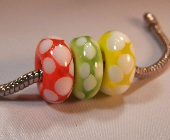 Citrus - Handmade Lampwork  European Charm - Slider Beads - Big Hole Beads