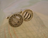 Cute in Connecticut - Vintage Authentic Connecticut Company Transit Tokens Cufflinks, Man Gift, Wedding Gift, Groomsman Gift