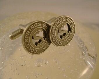 The Springs - Vintage Authentic Colorado Springs Transit Token Cufflinks, Man Gift, Wedding Gift, Groomsman Gift
