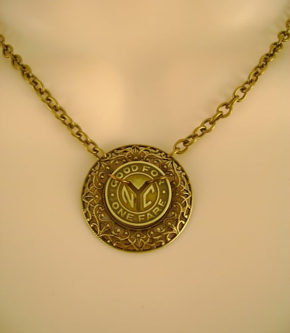 Julie and Julia Necklace - Vintage New York Subway Token and Filagree