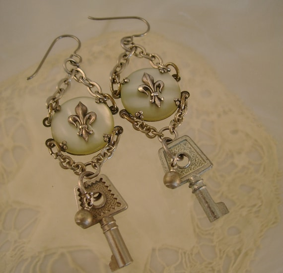 Sashay By - Antique Mother of Pearl Sterling Silver Fleur De Lis and Keys Recycled Repurposed Earrings