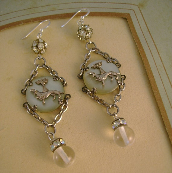 Doggone It - Antique Mother of Pearl Greyhound Dog Pools of Light Rhinestones Recycled Repurposed Assemblage Earrings