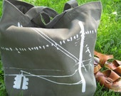 Brooklyn Pigeons Hanging Out --- Hand Screen Printed on Recycled Cotton Tote (Khaki)