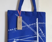 Brooklyn Pigeons Hanging Out --- Hand Screen Printed Tote (BLUE)