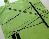Brooklyn Pigeons Hanging Out --- Hand Screen Printed Tote (Lime Green)