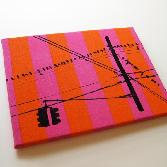 Brooklyn Pigeons Hanging Out--Hand Screen Printed Wall Panel (Orange x Pink Stripe)
