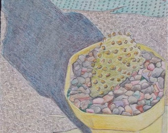 Cactus Colored pencil drawing Yellow lime green turquoise blue  abstract OOAK textural Southwestern still life