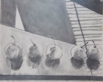 ORIGINAL DRAWING Black and white graphite and pencil drawing of Asian pears fruit OOAK 17 X 14 still life