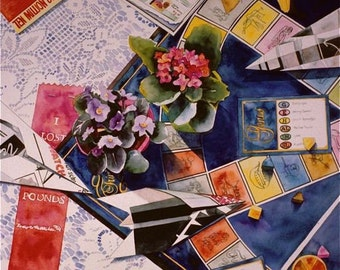 Games trivial pursuit indigo orange blues red yellow  giclee print of an original watercolor  TRIVIAL PURSUITS toys paper planes still lif