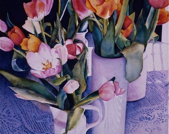 pink magenta orange purple lilac turquoise reproduction of original painting   TULIPS IN the LIGHT  floral flowers still life archival prin