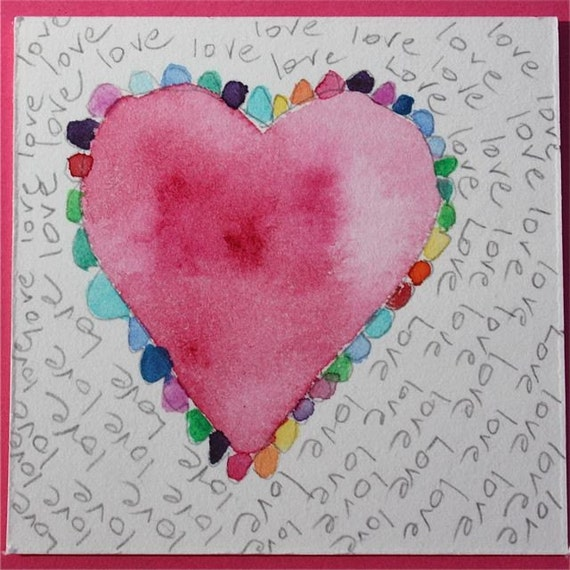"""Original Painting red pink raspberry primary colors watercolor matted and framed """"BIG HEART""""  OOAK abstract valentines romantic"""