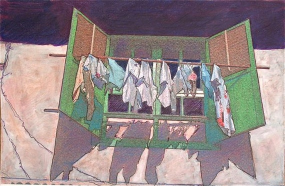 Laundry window original mixed media print lime purple cream beige whites mixed media drawing and photographic image OOAK  WINDOW and LAUNDR