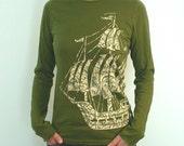 Old style Sailing ship Longsleeve Ladies shirt