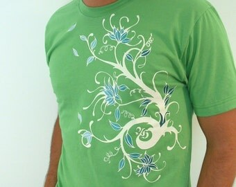 blowing Tree branch Grass Green mens T only small
