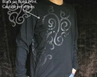 SALE Black Metalic Tribal Tattoo decorative Longsleeve T