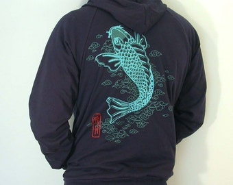SALE Koi Japanese  zip up Hoodie (mens/unisex) only Small