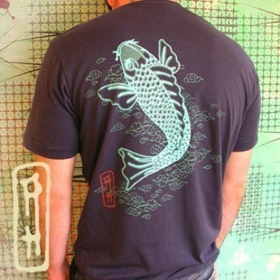 men's Koi Art fish vintage tattoo navy small and medium