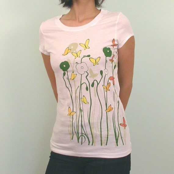 SALE Butterfly Garden White tshirt L and XL