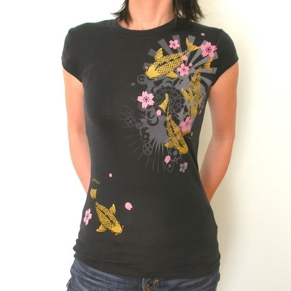 SALE Metalic Gold KOI pond Floral womens T only XXL