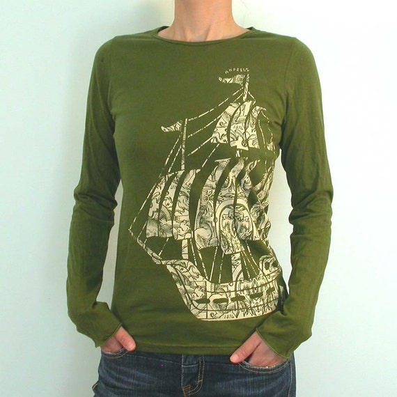 Old style Sailing ship Longsleeve Ladies shirt only S