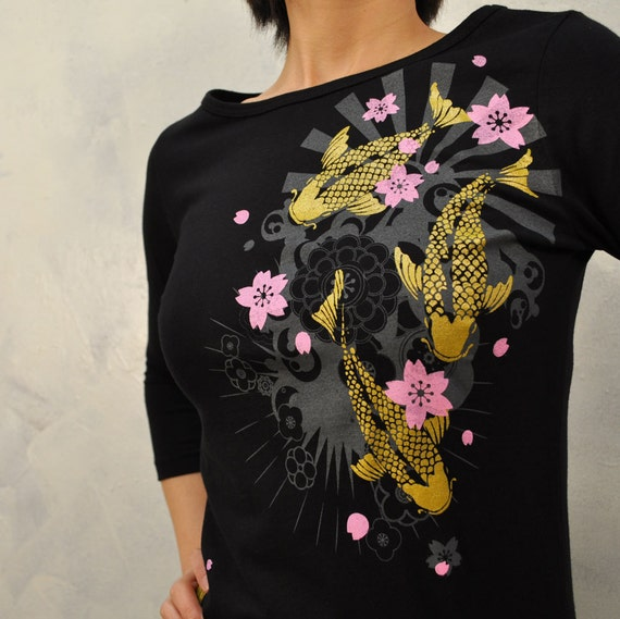 Gold Koi Half sleeve shirt only Large
