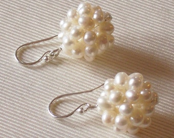 Great Lustre - Fresh Water Pearl Ball and Sterling Silver Earrings