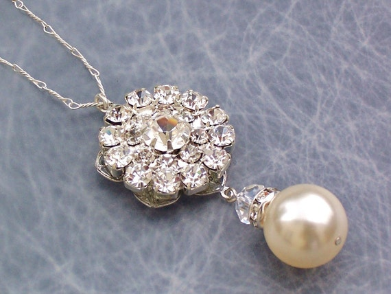 Rhinestone Ivory Pearl Pendant, Swarovski Crystal, Pearl & Sterling Silver Necklace