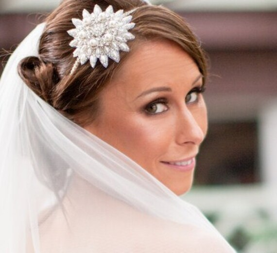 Vintage Style Embellished Appliquè Flower and Pearl Headband, RIA