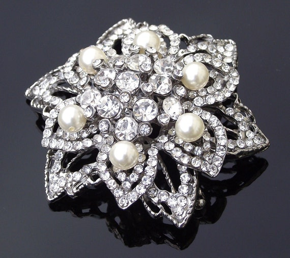 Art Deco Style Crystal and Pearl Brooch, TRINNY P