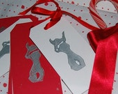 Santa Bunny Christmas Gift Tags (Set of 8) Lino-Cut Block Printed