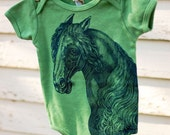 Organic forest green onesie with denim blue horse 3-6 Months