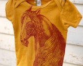 Organic curry onesie with blood red horse 6-12 Months