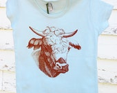 Seafoam t-shirt with burnt orange cow - Size 6T