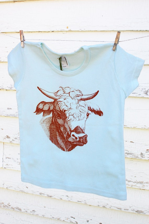 Seafoam t-shirt with burnt orange cow - Size 6T
