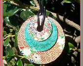 Orange and Green Origami Paper Circle Necklace