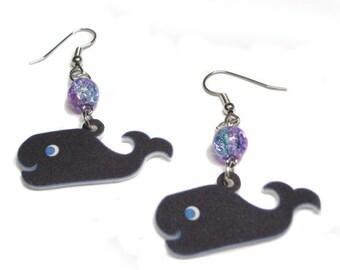 Charming Black Whale Earrings