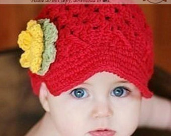Newsboy Hat 0-3 Months, Girls Hat, Crochet Hat, Childrens Hat, Child Hat, Red Hat, Hat with Brim, Infant Hat, Winter Hat, Winter Beanie Hat