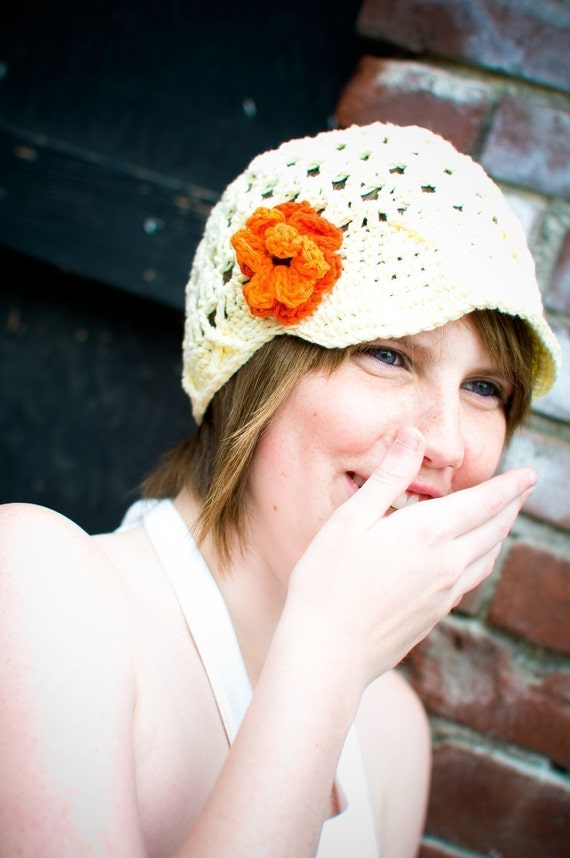 You Choose Colors, Adult Flower Beanie with Brim