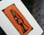 Retro Lava Lamp Velvet Blank Greeting Card with Swarovksi Crystal