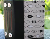 Chunky BLACK and WHITE PIGS Art Journal Blank Book Leather and Japanese Fabric