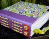 CHARTREUSE FLOWER Colorful Blank Art JOURNAL Wedding Guest Book Yuzen Paper Cover and Purple Leather Beaded Spine Built in Bookmark