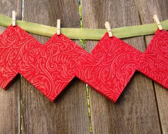 Elegant Embossed Red Felt Blank Greeting Cards  (Set of 4)