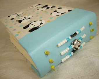 PANDA BEAR Blank Art Journal Beaded Baby Blue Leather and Fabric from Japan