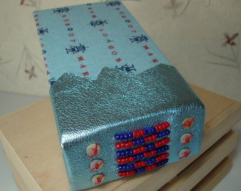 ROBOT Art Journal Beaded Leather and Japanese Fabric Blank Book Whimsical