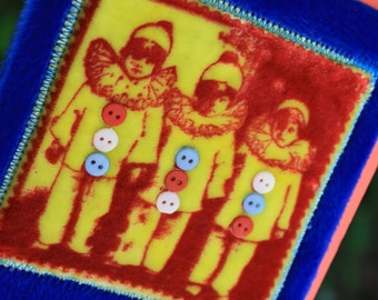 Whimsical 3 Clown Kids Velvet Fur and buttons Blank Greeting Card