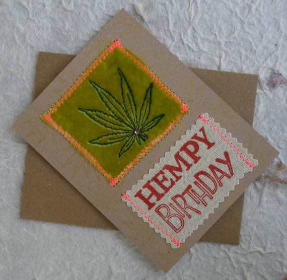 Hempy Birthday Marijuana Leaf With Swarovski Crystal Blank