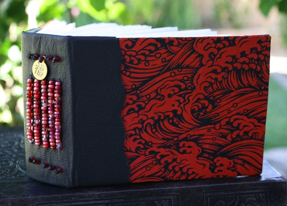WAVES of GOOD FORTUNE Blank Art Journal Sketch Book Black and Red